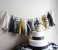 black white gold wedding tassel garland graduation chevron