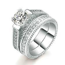 Gold Diamond Wedding Ring Sets by Cz Diamond Wedding Ring Set Bride U0026 Groom Shop