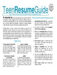 Sample Resume Teenager by Download Teen Resume Haadyaooverbayresort Com