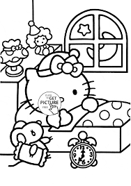 hello kitty ready to sleep coloring page for kids for girls