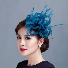 fascinators for hair women teal loop sinamay hair fascinators with feathers hair clip