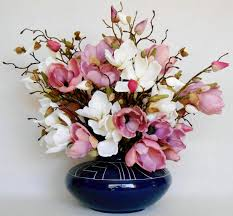 artificial flower arrangement mauve u0026 white magnolia