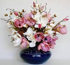 artificial flower arrangement mauve u0026 white magnolia