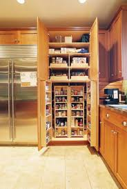 Oak Kitchen Pantry Storage Cabinet Wood Corner Pantry Cabinet Feat Silver Refrigerator Storage