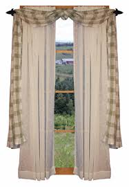 Black Curtains With Valance Primitive Country Window Treatments Rustic Window Treatment