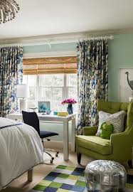 Navy And Green Curtains Modern Floral Curtains Design Ideas