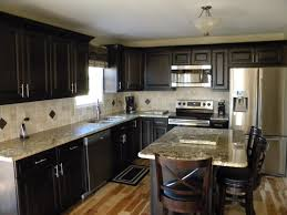 Dark Kitchen Cabinets Ideas by Dark Kitchen Cabinets With Light Granite Captivating Interior