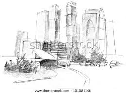 pencil drawing big modern city skyscrapers stock illustration