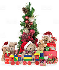 teddy bear family with christmas tree and gifts stock photo