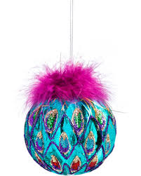 spectacular deal on bright glass peacock colored ornaments set of 2