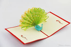 peacock pop up card greeting card 3d card animal card wedding