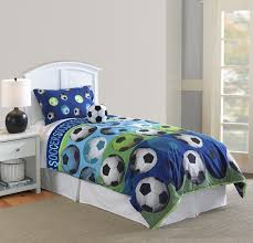 Blue Bed Set Blue Green Soccer Ball Bedding Twin Full Queen Comforter Set With