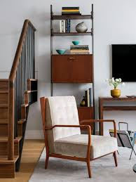 mid century modern decor with vertical veneer rack and cushioned