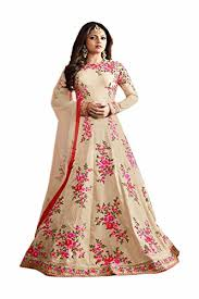 ethnic empires cream color latest indian designer anarkali salwar