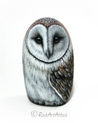 detailed barn owl rock unique owl art for home decor камешки