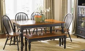 Kitchen Tables With Bench Seating And Chairs by Kitchen Table With Bench Set Trestle Farmhouse Tablebench Set