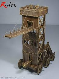siege engines realts wooden ancient chariots assembled of material high