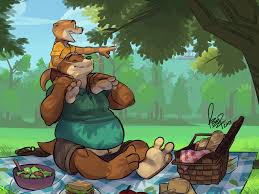 picnicking otters by benj24 on deviantart