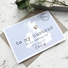 to my groom on our wedding day card personalised to my husband on our wedding day card by paper and