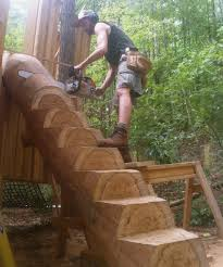 rising earth log stairs