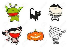 kids halloween cartoon funny kids 56 halloween costumes royalty free cliparts vectors