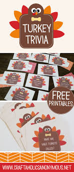 thanksgiving table craft turkey trivia cards thanksgiving table