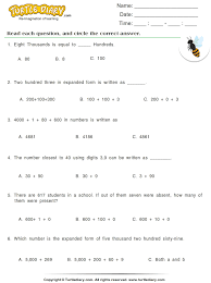 write numbers in expanded form worksheet turtle diary
