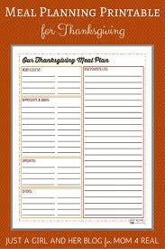 thanksgiving menu meal planning free printable 4 real