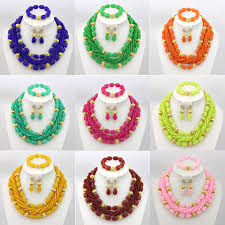 aliexpress bead necklace images Chunky african coral beads jewelry set pink nigerian wedding jpg