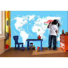 World Map Desk by Wall Colour In World Map Wallpaper Mural 1 58m X 2 32m