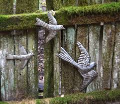 Garden Wall Art Metal Birds Handmade In Haiti Set Of 3 Garden Wall Art 11 X 12