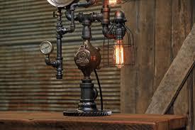 steampunk industrial lamp antique railroad locomotive steam gauge