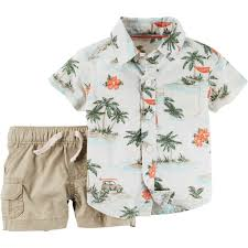 Children S Clothing Clearance Carter U0027s Infant Boys Palm Tree Shirt And Khaki Shorts 2 Pc Set