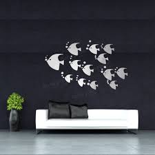 diy 3d tropical fish acrylic mirror stickers creative wall decor