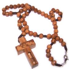 wooden rosaries wood rosary necklace with special cross containing water