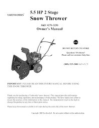 sears snow blower 270 3250 user guide manualsonline com