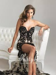 beaded black lace applique strapless sweetheart high low illusion
