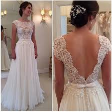 cheap brides dresses open back lace chiffon white wedding dress cap sleeves custom