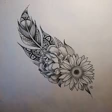 flowers and feather tattoo design