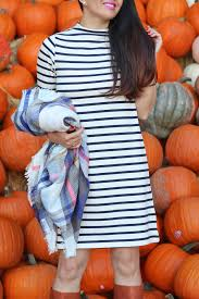 french connection stripe shift dress kelly plaid scarf cognac boots