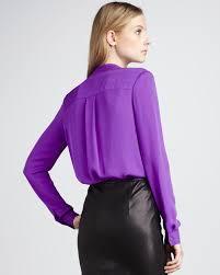 purple silk blouse lyst theory silk blouse in purple