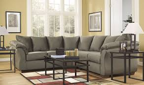 signature design by ashley darcy sectional in sage fabric fsd