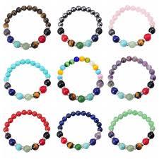 crystal bracelet charms images Natural semi precious stone 8mm round beads reiki charms bracelet w jpg