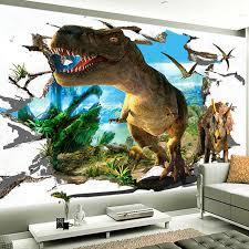 chambre dinosaure 3d murale papier peint personnalisé stéréo de bande dessinée mur