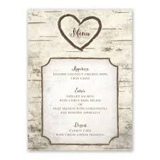 Wedding Invitations And Reception Cards Birch Tree Carvings Menu Card Invitations By Dawn