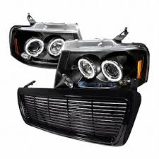 05 ford f150 headlights ford f150 2004 2008 black billet grille and projector headlights