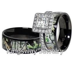 camo wedding ring sets for him and 3 pc mens womens black camo and green emerald cubic zirconia