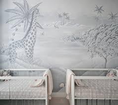 Safari Wall Murals Safari Mural In An Elegant Twin Girls Nursery Project Nursery