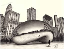 The Bean Chicago Map by The Bean Cloud Gate Drawing 18x24 Inch Print Direct From