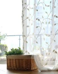 White Sheer Curtains Country Embroidered Leaves White Sheer Curtain Customized Curtains